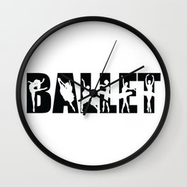 Ballet in Black with Ballerina Cutouts Wall Clock