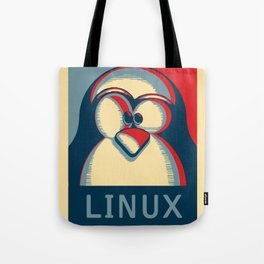 Linux tux penguin obama poster logo Tote Bag