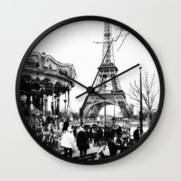 Merry-Go-Round the Eiffel Tower Wall Clock