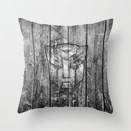 Autobot Monochrome Wood Texture Throw Pillow