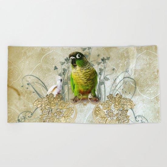 Wonderful, cute parrot Beach Towel