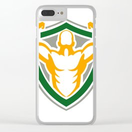 Strongman Flexing Muscles Crest Icon Clear iPhone Case