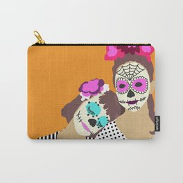 Sugar Skull Halloween Girls Orange Carry-All Pouch