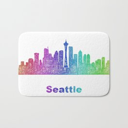 Rainbow Seattle skyline Bath Mat