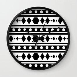 Black Tribal Pattern Wall Clock