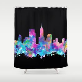 indianapolis city skyline watercolor 5 Shower Curtain