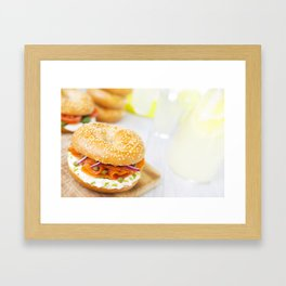 Bagel with salmon and cream cheese, brightly lit Framed Art Print