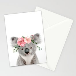 Baby Koala with Flower Crown Stationery Cards