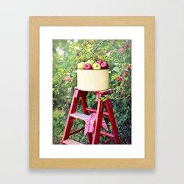 Apple Picking Ladder and Basket Framed Art Print