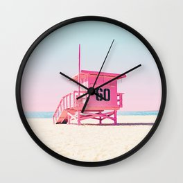 Pink Life Guard Tower - So Cal Wall Clock
