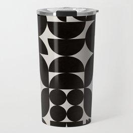 Black & White Mid Century Modern Pattern Travel Mug