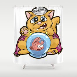 FORTUNE TELLER CAT Fish Bowl Glass clairvoyant Shower Curtain