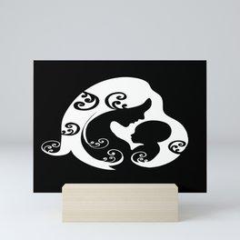 Mother,baby love,minimal illustration,dark background. Mini Art Print