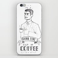 dale cooper iPhone & iPod Skins featuring DALE COOPER - A FINE CUP OF COFFEE by Adrianna Ojrzanowska