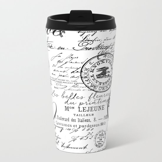 Vintage handwriting black and white Metal Travel Mug