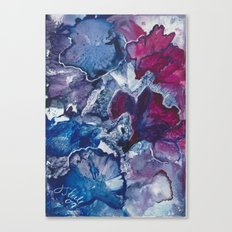 Blue and Red Abstract encaustic flowers Canvas Print