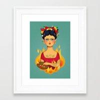 frida Framed Art Prints featuring Frida by La Perera