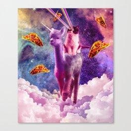 Cosmic Cat Riding Alpaca Unicorn Leinwanddruck