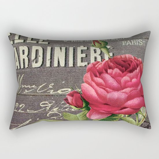 Vintage red rose #2 Rectangular Pillow
