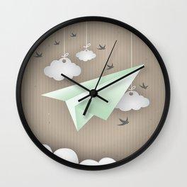 Green Paper Plane Wall Clock
