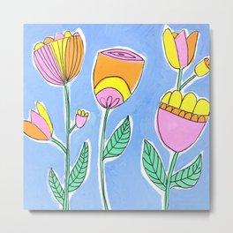 Stylised Flowers Metal Print