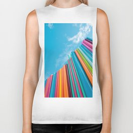 Colorful Rainbow Pipes Against Blue Sky Biker Tank