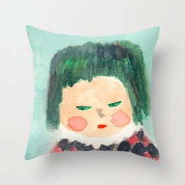 Suspicious Kid in Checker Top from the Shakespeare Drama class Throw Pillow