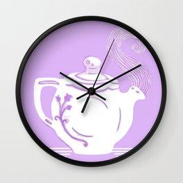 Lavender and White Teapot Printmaking Art Wall Clock