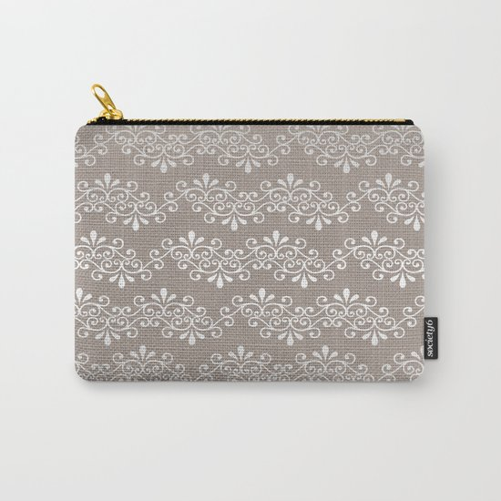 Lace on Burlap Carry-All Pouch