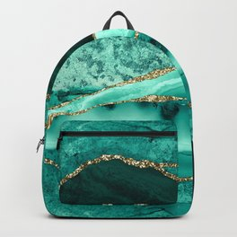 Ocean Waves Marble Emerald And Golden Backpack