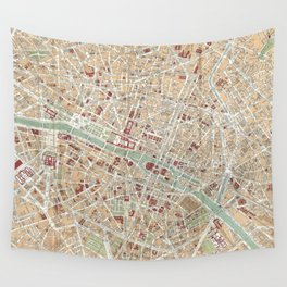 Vintage Map of Paris (1892) Wall Tapestry