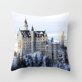 The Castle of Mad King Ludwig, Neuschwanstein Castle, Bavaria, Germany, Winter color photography / photographs  Throw Pillow
