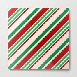 Candy Cane Stripes Red Green and Cream Metal Print