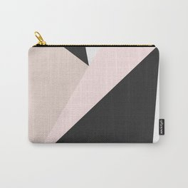 Geometrical pastel pink black white abstract triangles Carry-All Pouch