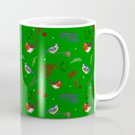 Christmas,festive winter birds pattern ,green power  Coffee Mug