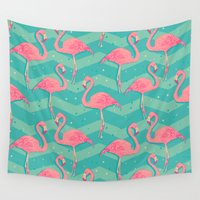 flamingo Wall Tapestries featuring Flamingo by Julia
