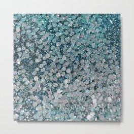 Mermaid Scales Aqua Sol Metal Print