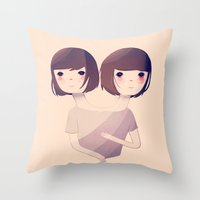 sisters Throw Pillows featuring Sisters by Nan Lawson