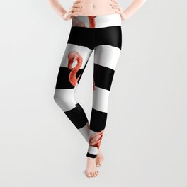 Simply Flamingo Deep Coral on Midnight Black Stripes Leggings