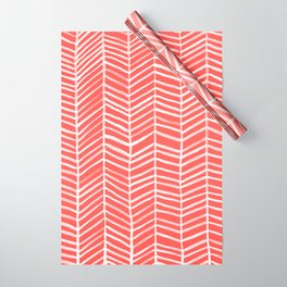Coral Herringbone Wrapping Paper