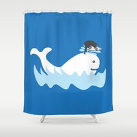 surf Shower Curtains featuring Surf by Hagu