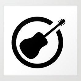 Acoustic Guitar Black Ink Stamp Art Print