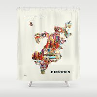 boston Shower Curtains featuring boston map by bri.buckley
