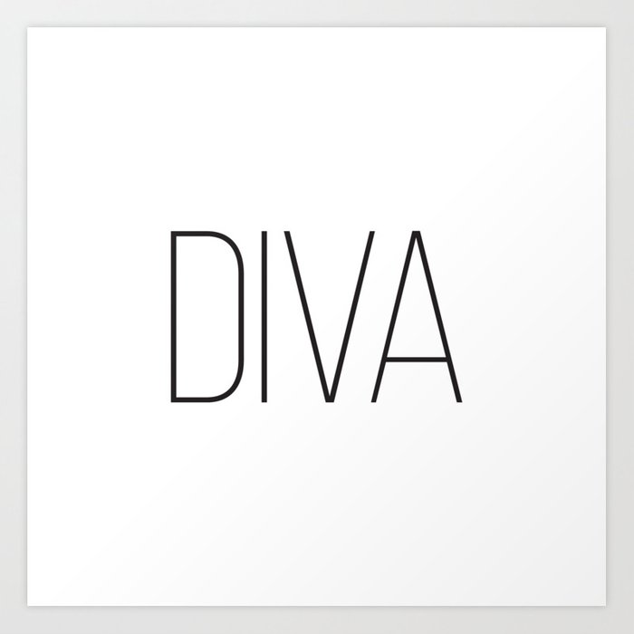 One Word Signs Diva Igital Quotes Affiche Scandinave Fashion