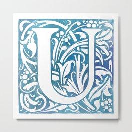 Letter U Elegant Vintage Floral Letterpress Monogram Metal Print