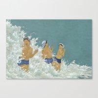 kozyndan Canvas Prints featuring Three Ama Enveloped In A Crashing Wave by kozyndan