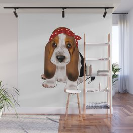 Retro style cute basset hound baby dog with bow headband.Dog lovers gift idea Wall Mural