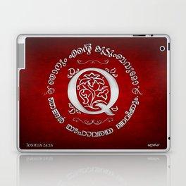 Joshua 24:15 - (Silver on Red) Monogram Q Laptop & iPad Skin