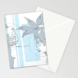 Floral Faces & Simple Lines Minimal Art Stationery Cards