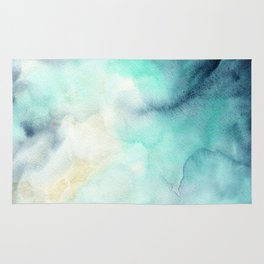 Indigo Turquoise Watercolor Abstract Painting Rug